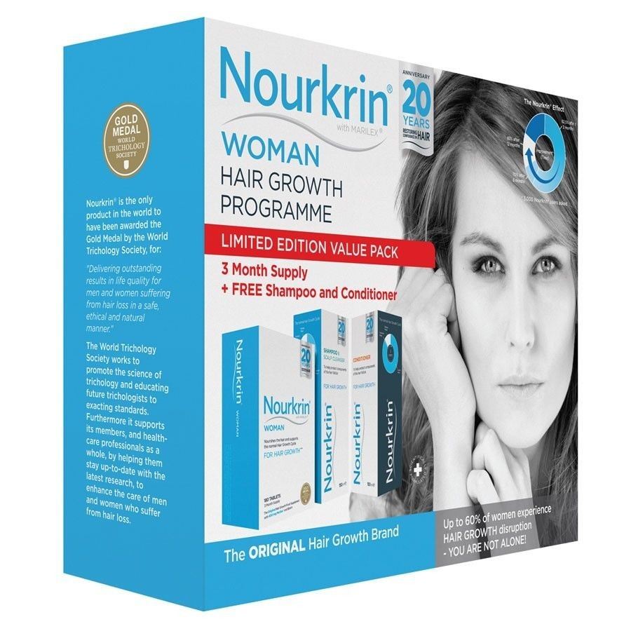 Nourkrin Woman 3 Months PROMO PACK - 180 Tablets + FREE Shampoo & Conditioner