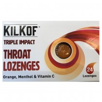 Kilkof Triple Impact Sore Throat Lozenges 24 Lemon, Menthol & Honey