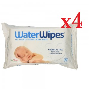 Pack of 4 WaterWipes Baby Wipes Sensitive Skin 240 Wipes